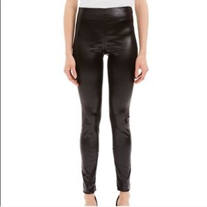Theory Skinny Chintz Faux-Leather Brown Legging Pants